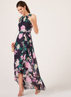 Floral Print High-Low Dress, Blue, hi-res