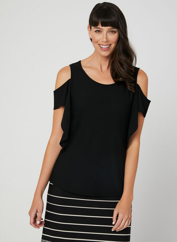Linea Domani - Cold Shoulder Top, Black, hi-res