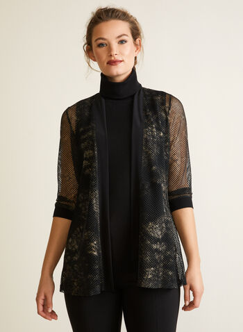 Open Front Crochet Top, Black,  fall winter 2020, made in canada, elbow sleeves, metallic, abstract print, open top, holiday, crochet