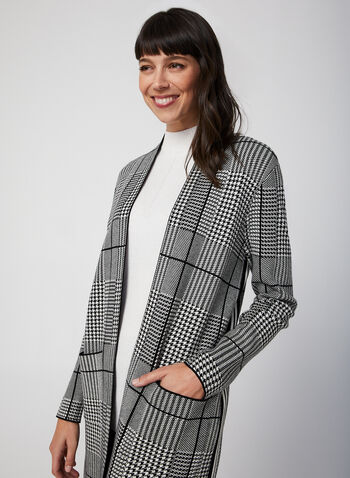 Houndstooth Open Front Cardigan, Black,  long sleeves, open, fall 2019, winter 2019