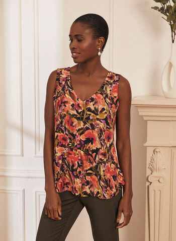 Floral Print Reversible Blouse, Black,  top, blouse, floral, reversible, sleeveless, v-neck, crepe, spring summer 2021