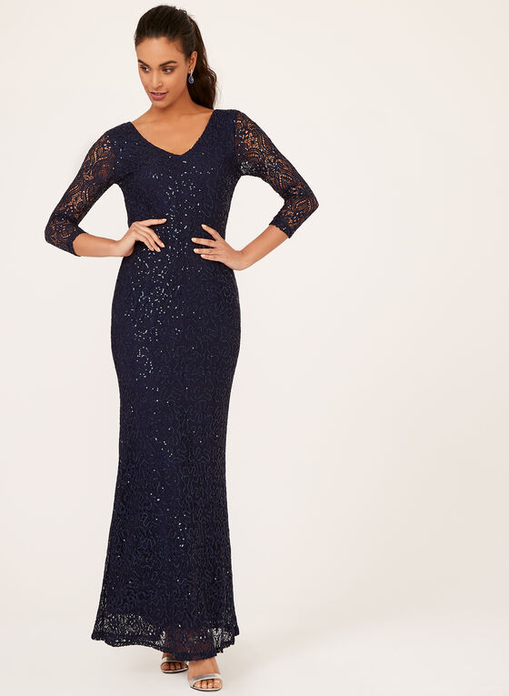 Marina - Sequin Lace A-Line Dress, Blue, hi-res
