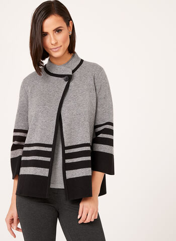 Cardigan tricot manches ¾ à rayures, Gris, hi-res