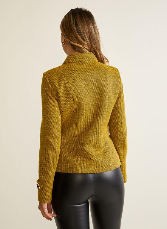 Blazer boutonné en tricot à col chemisier, Jaune
