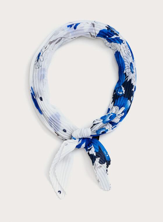 Foulard carré léger à motif floral et effet plissé, Bleu, hi-res