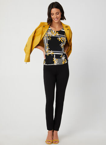 Floral Print Jersey Top, Black, hi-res,  stripe print top, floral print blouse