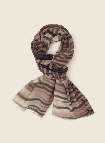 Abstract Stripe Print Scarf, Grey,  fall winter 2020, scarf, accessories, stripe, geometric print