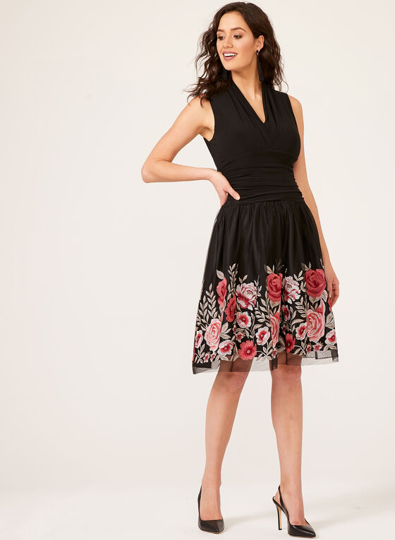 Floral Embroidered Mesh Jersey Dress, Black