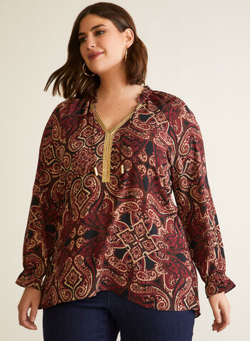 Paisley Print Tunic, Black,  top, tunic, tunisian, paisley, long sleeves, drawstring, fall winter 2020