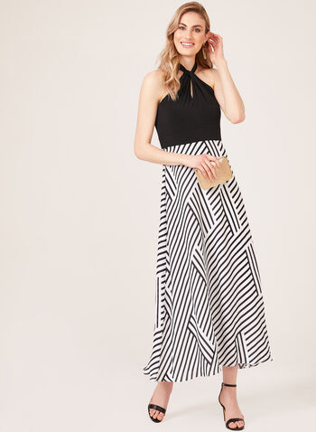 Stripe Print Halter Top Dress, Black, hi-res