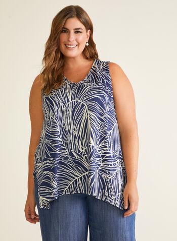 Tropical Print Sleeveless Top, Black,  top, v-neck, sleeveless, tropical, sharkbite, spring summer 2020