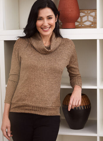 Cowl Neck Rib Knit Top, Brown,  made in Canada, fall winter 2021, top, blouson, rib knit, knit, knitwear, cowl neck, turtleneck, long sleeve, drop shoulder