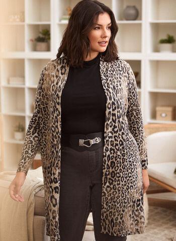 Haut par-dessus à imprimé léopard, Noir,  automne 2021, made in canada, veste, cardigan, haut, ouvert, par-dessus, manches longues, motif, imprimé, léopard, animal