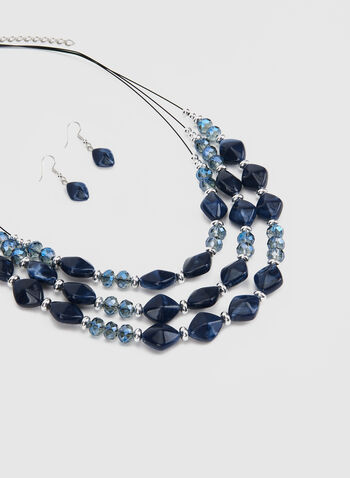 Necklace & Earrings Set , Blue, hi-res,  short necklace,necklace, bead necklace, beads, earrings, dangle earrings, fall 2019,winter 2019