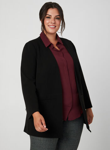 Open Front Crepe Blazer, Black, hi-res,  long sleeves, crepe, open front, fall 2019, winter 2019