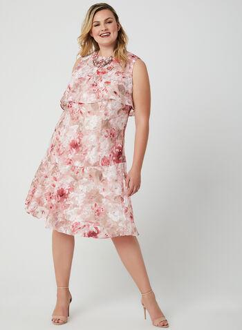 Jessica Howard - Floral Print Chiffon Dress, Pink, hi-res