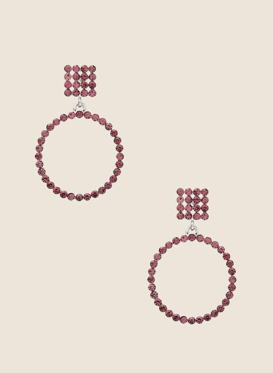 Boucles d'oreilles à cristaux et anneaux, Violet