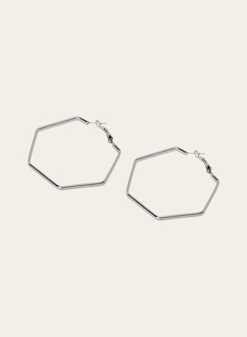 Hexagonal Metal Hoop Earrings, Silver, hi-res