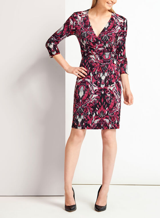 Graphic Print Faux Wrap Jersey Dress, Red, hi-res