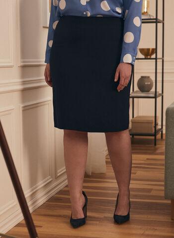 Jupe droite à zip, Bleu,  printemps été 2020, jupe, courte, droite