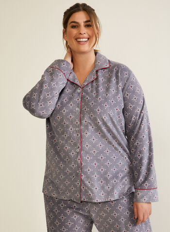 Abstract Print Microfleece Pyjama Set, Grey,  fall winter 2020, pyjama set