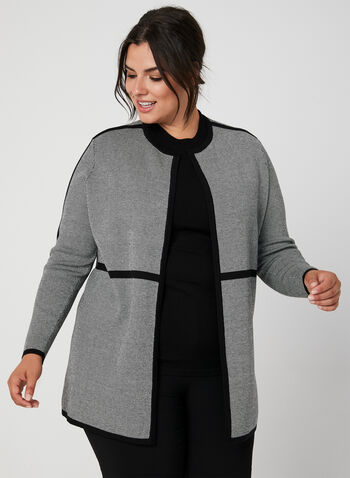 Open Front Knit Cardigan, Grey, hi-res,  cardigan, open front, long sleeves, contrast trim, knit, fall 2019, winter 2019