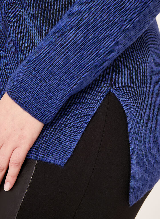 Contrast Rib Knit Tunic, Blue, hi-res