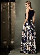 Robe au col licou et jupe fleurie avec taille en maille filet, Bleu, hi-res