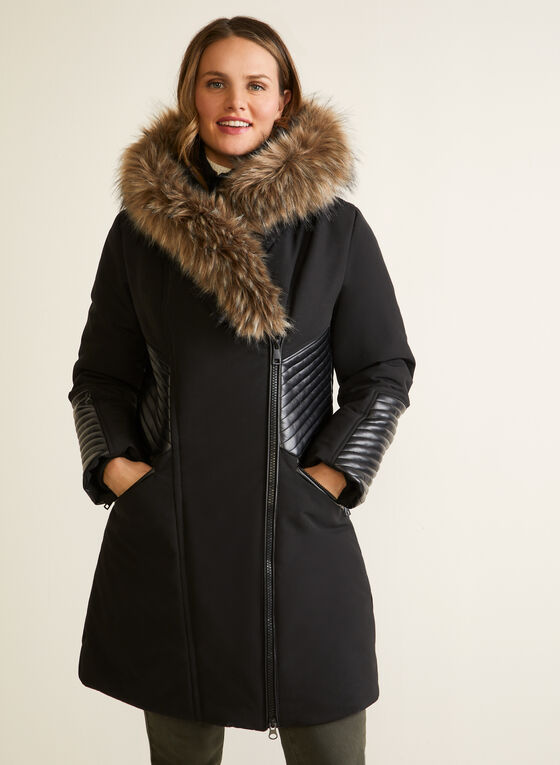 Faux Fur Trim Asymmetrical Coat, Black