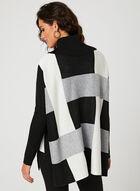 Charlie B - Pull poncho à col roulé en tricot , Noir, hi-res