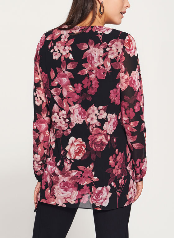 Tunique fleurie avec fente et détail nœud, Noir, hi-res