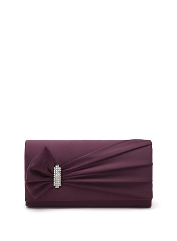 Side Drape Satin Clutch, Red, hi-res