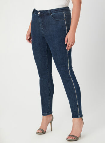 Modern Fit Slim Leg Jeans , Blue, hi-res,  crystals, contrast trim, slim leg, modern fit, stretchy, denim, fall 2019, winter 2019