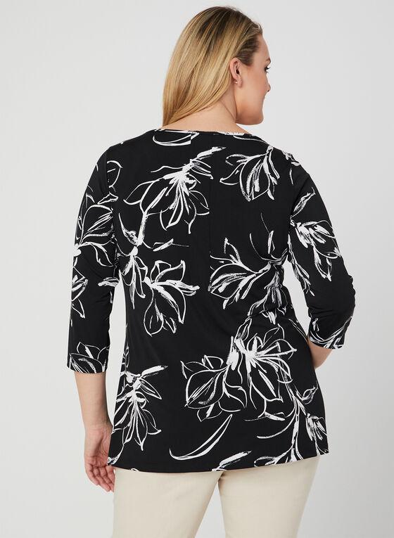 Tunique fleurie en jersey, Noir