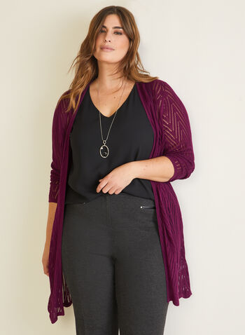 Pointelle Knit Cardigan, Purple,  cardigan, knit, pointelle, open front, long sleeves, fall winter 2020