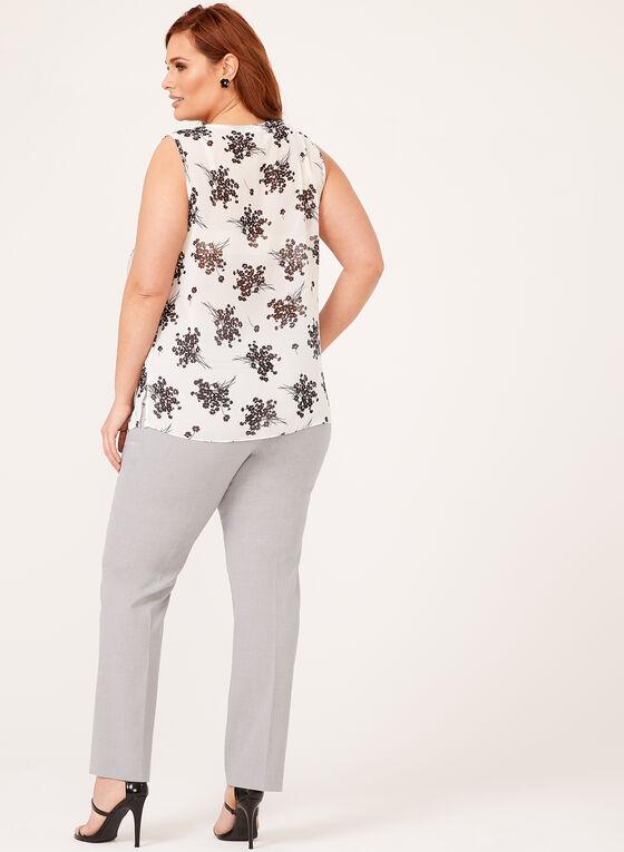 Sleeveless Floral Print Chiffon Top, White, hi-res