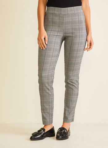 Tartan Print Pull-On Pants, Black,  pants, pull-on, tartan, slim leg, bengaline, pleats, fall winter 2020