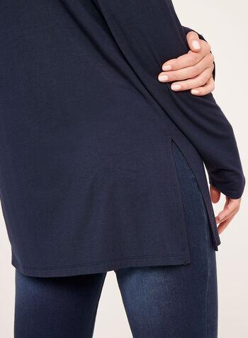 V-Neck Long Sleeve Top, Blue, hi-res
