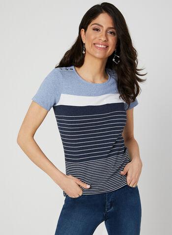 T-shirt rayé avec boutons décoratifs, Bleu, hi-res,  rayures, ligné, haut, poche