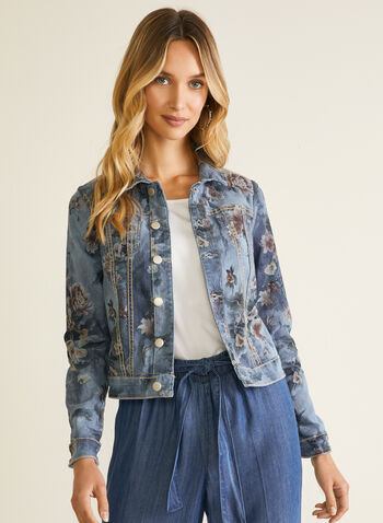 Blazer en denim réversible , Bleu,  blazer, denim, boutons, col chemisier, réversible, fleurs, printemps été 2020