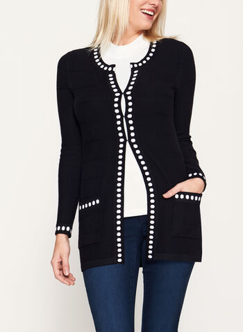 Knit Printed Tunic Cardigan, Black, hi-res