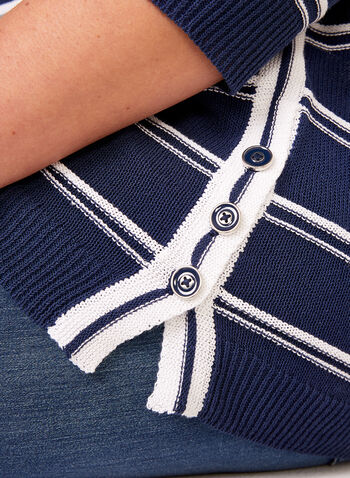 Button Detail Striped Knit Tunic, Blue, hi-res