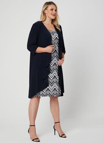 Robe motif abstrait et cardigan ouvert, Bleu, hi-res,  robe de jour, abstrait, sans manches, cardigan ouvert, collier, épaulettes, printemps 2019