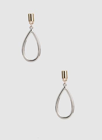 Open Teardrop Earrings, Yellow, hi-res,  long earrings, gold earrings, silver earrings