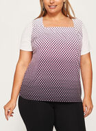 Geometric Print Square Neck Top, Black, hi-res