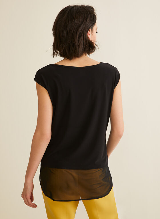 Mesh Detail Top, Black