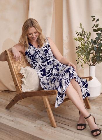 Leaf Print Dress, Blue,  spring summer 2021, dresses, floral print, palm print, tropical print, v neck, made in Canada, no sleeves, leaves,
