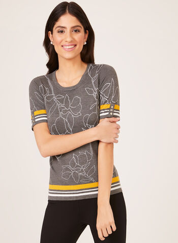 Short Sleeve Knit Top , Grey, hi-res