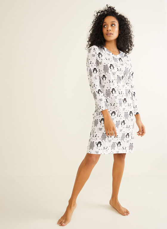 Bellina - Mixed Animal Print Nightgown, Black