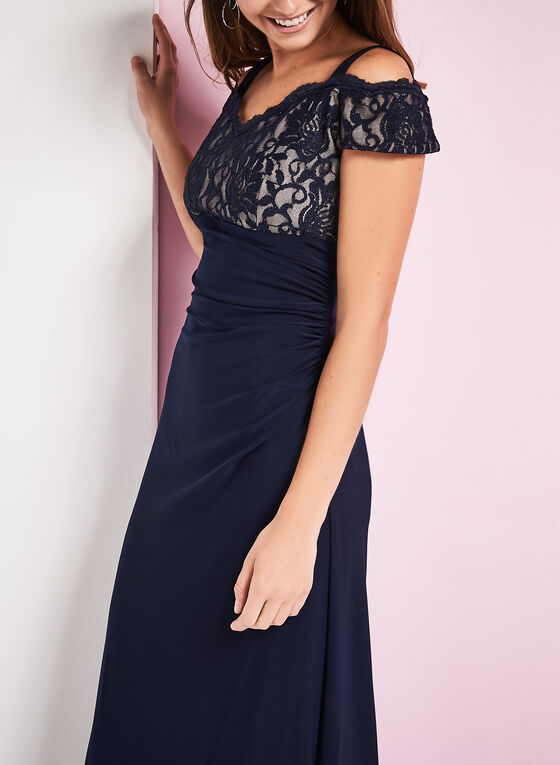 Glitter Lace Bodice Dress, Blue, hi-res